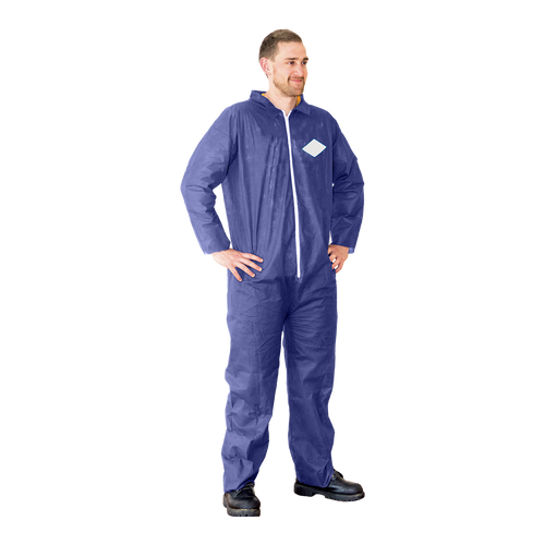 Blue Light Duty Coveralls, shown in use