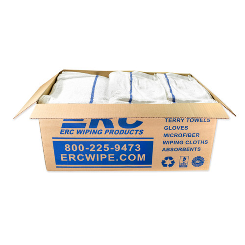 Bulk Bar Towels 100% Cotton Terry 16x19 With Color Stripe, shown in a 25 pound box