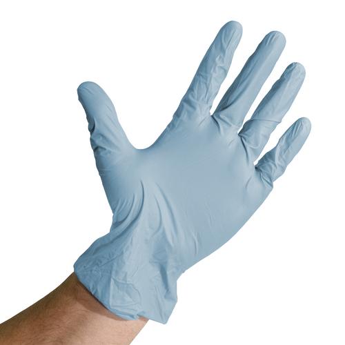 Blue Vinyl Nitrile Blend Gloves, shown palm out