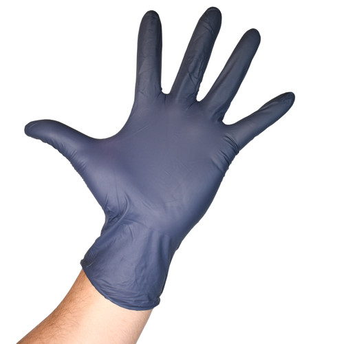 Fentanyl Resistant Black Nitrile Gloves Powder Free - 5.5 Mil, shown with palm out