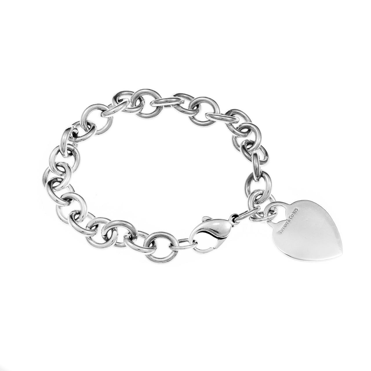 dd68ef490 Tiffany & Co Sterling Silver Rolo Link Bracelet Silver Heart Tag -  petersuchyjewelers