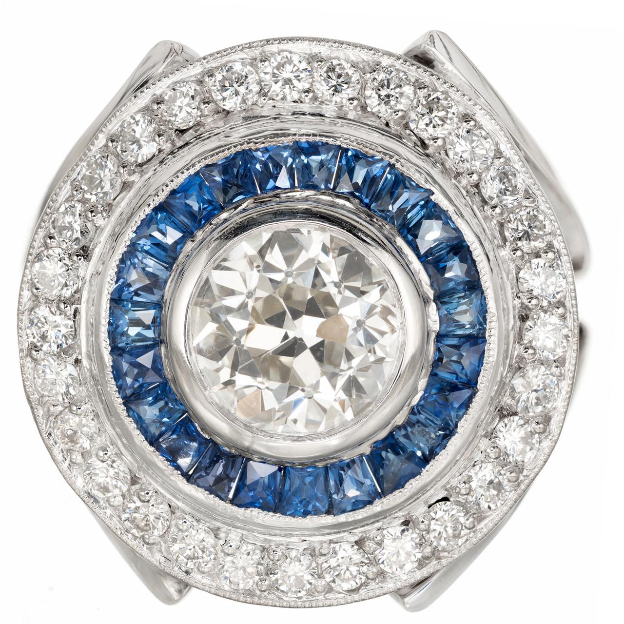 eec3b365dde7b GIA Certified 1.50 Carat Diamond Sapphire Platinum Cocktail Ring