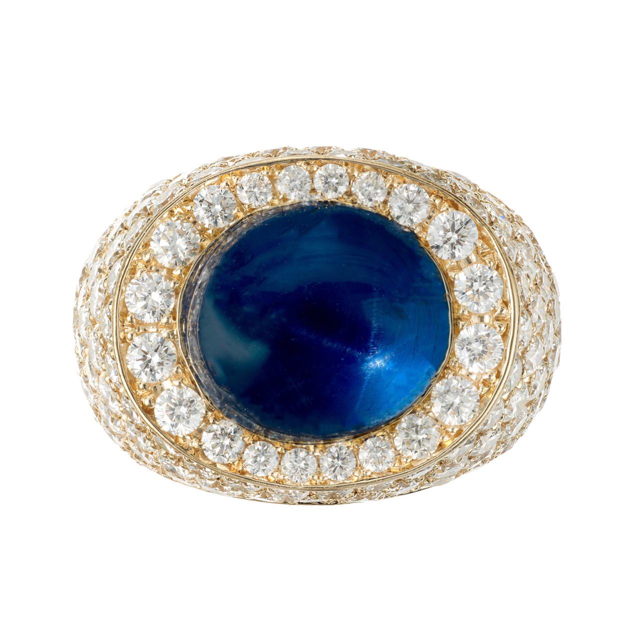 3ebe454e05fc6 David Webb 14.4 Carat Star Sapphire Diamond 18k Yellow Gold Ring