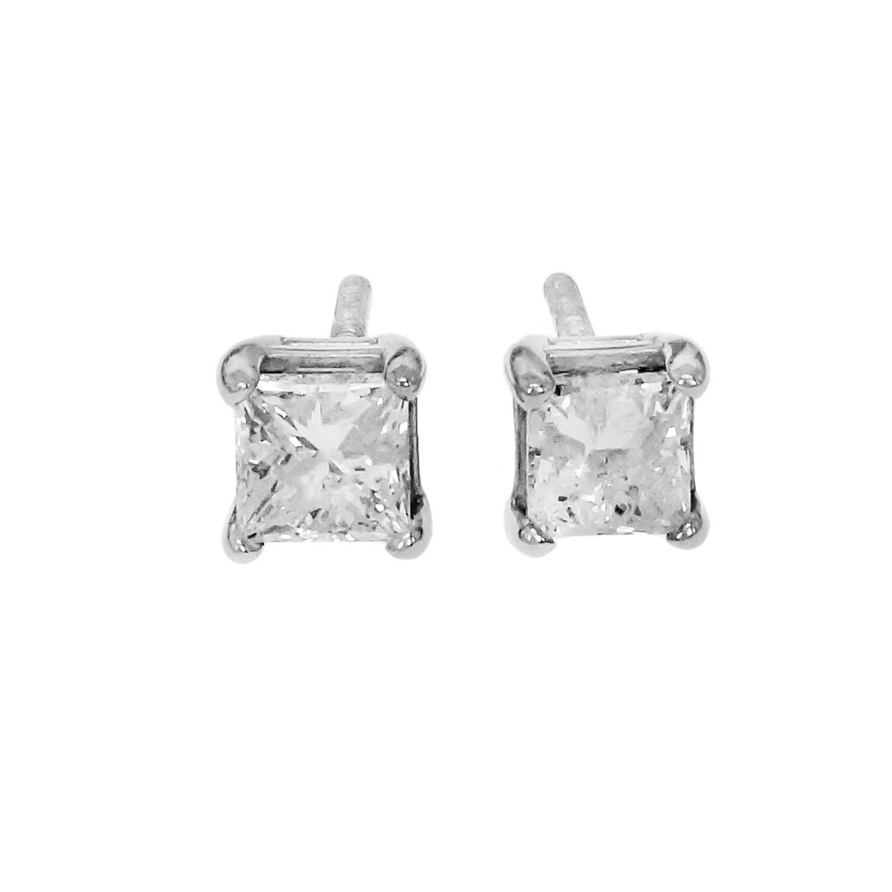 2bb34a1e5 Princess Cut Diamond Stud Earrings 14k White Gold Screw Back .50ct -  petersuchyjewelers