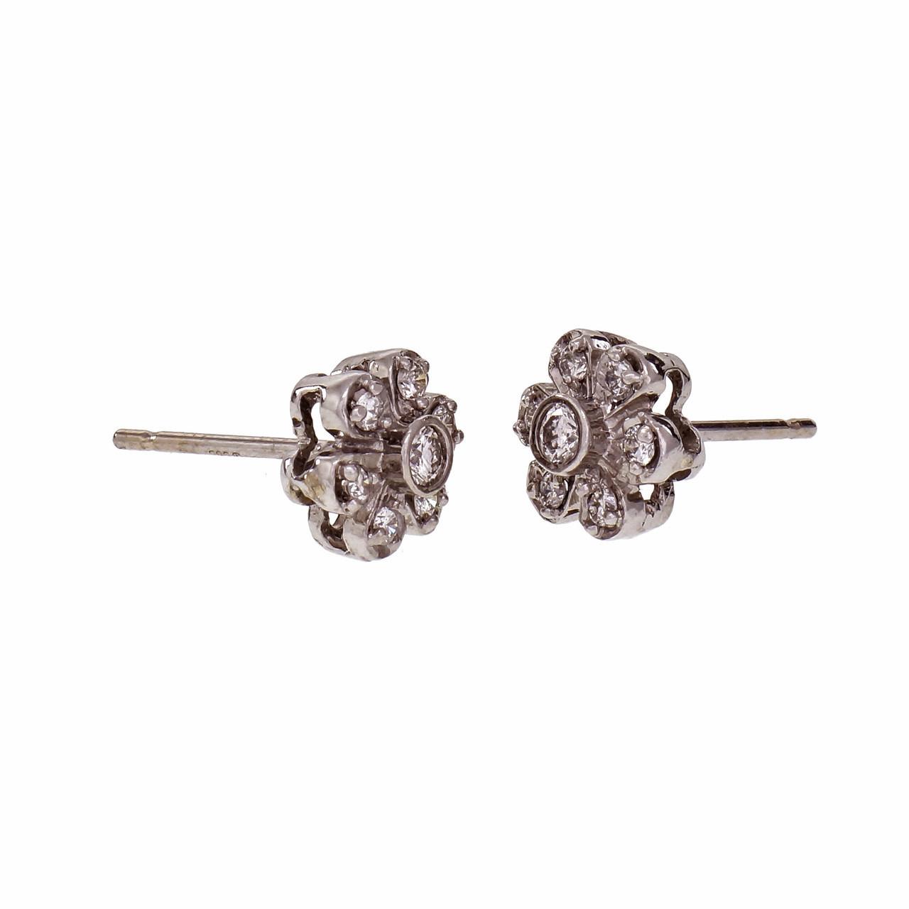 340fb6b1b Diamond Flower Cluster Stud Earrings 14k White Gold - petersuchyjewelers