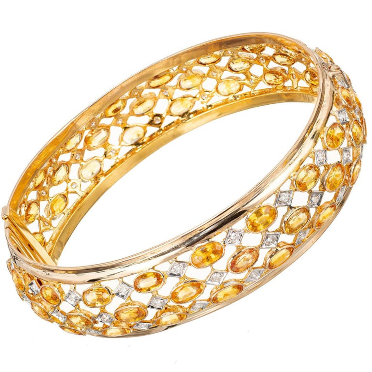 3 Ct 14K Yellow Gold Over 3 Row Sapphire /& Diamond Hinged Bangle Bracelet