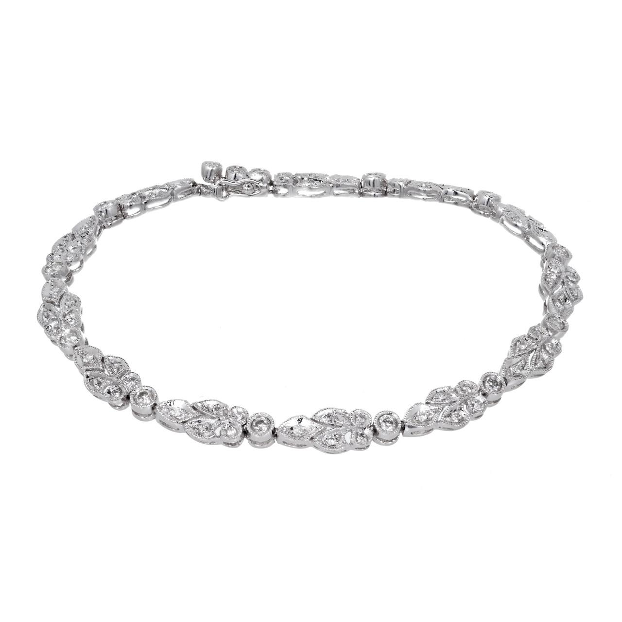 Vintage Art Deco Hinged Link Millgrain Platinum Bead Set 1 20ct Diamond  Bracelet