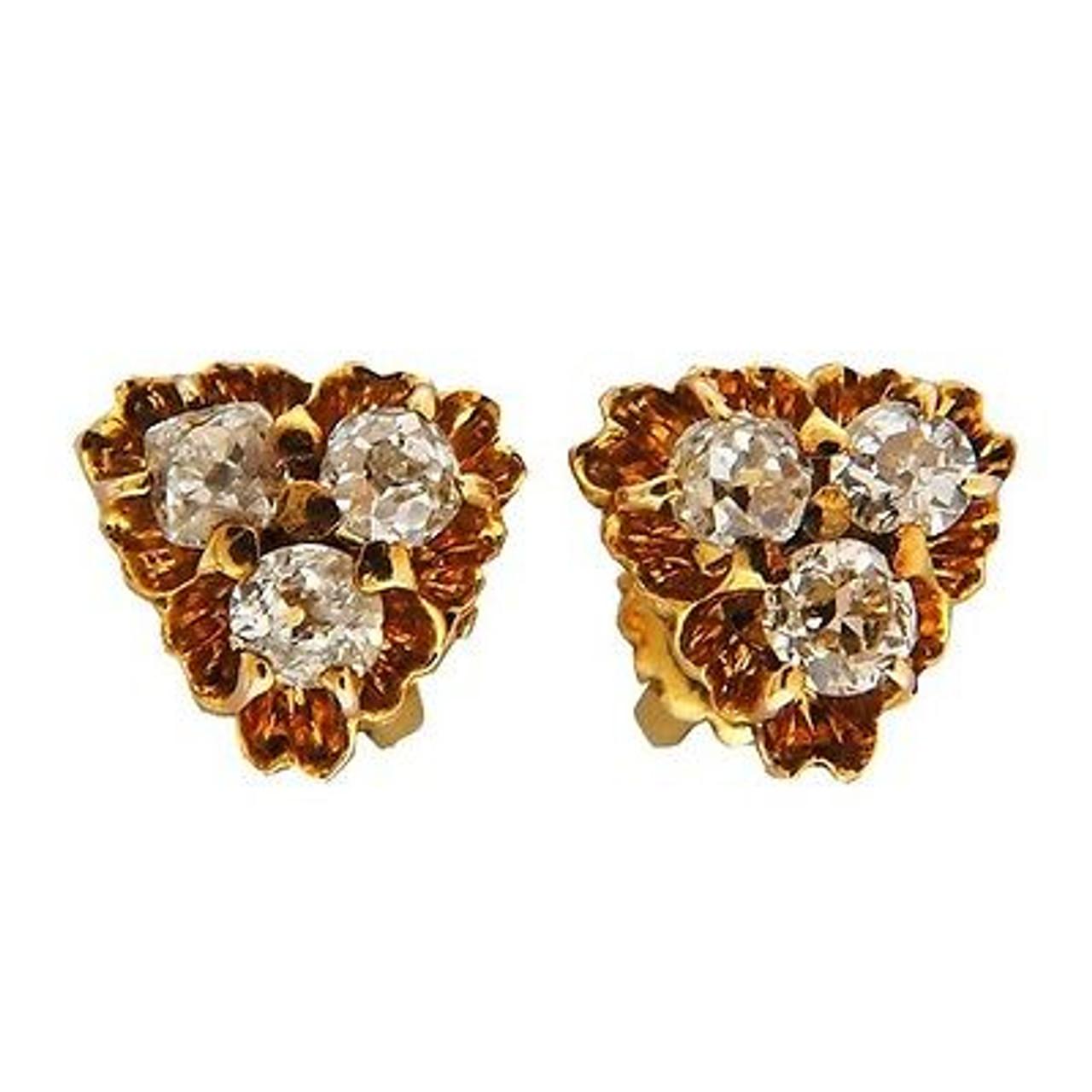 50ct Old Mine Cut Diamond Pink Gold Victorian Threaded Screw Back Earrings Petersuchyjewelers