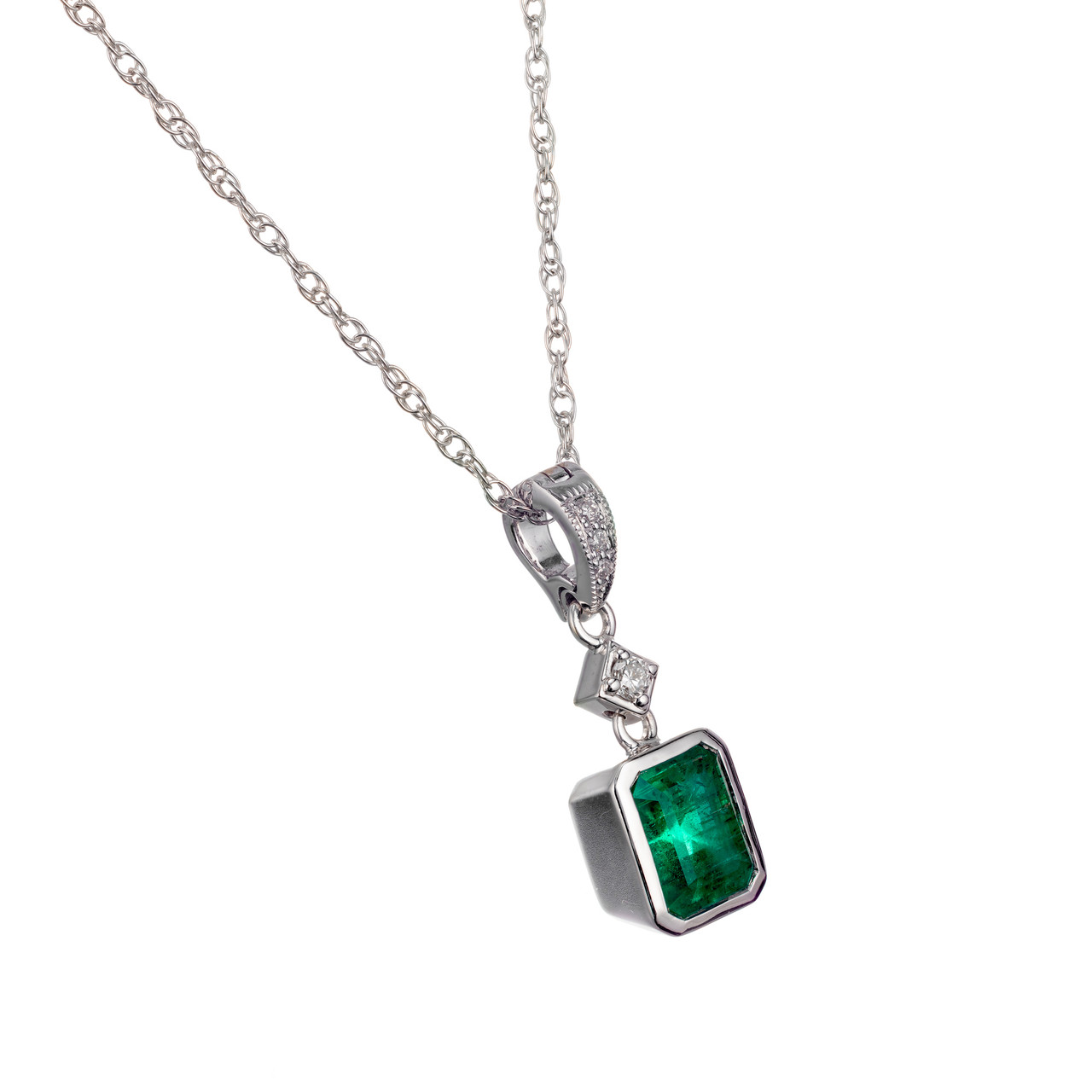 Peter Suchy Gia Certified 94 Carat Emerald Diamond Gold Pendant Necklace Petersuchyjewelers