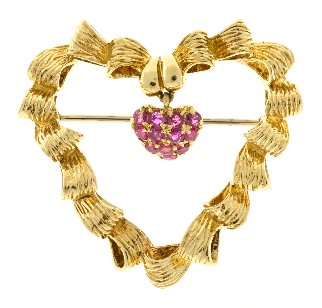 49e54cd886c Vintage Tiffany   Co Pin Blood Red 1950 Italian 18k Yellow Gold Heart Pin -  petersuchyjewelers