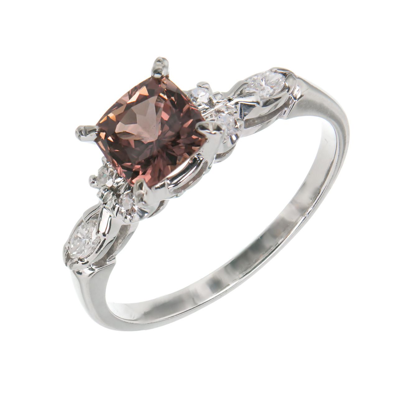 4c358a92a36ad Vintage 1.30ct Raspberry Cushion Brown Pink Sapphire 18k Gold Diamond Ring