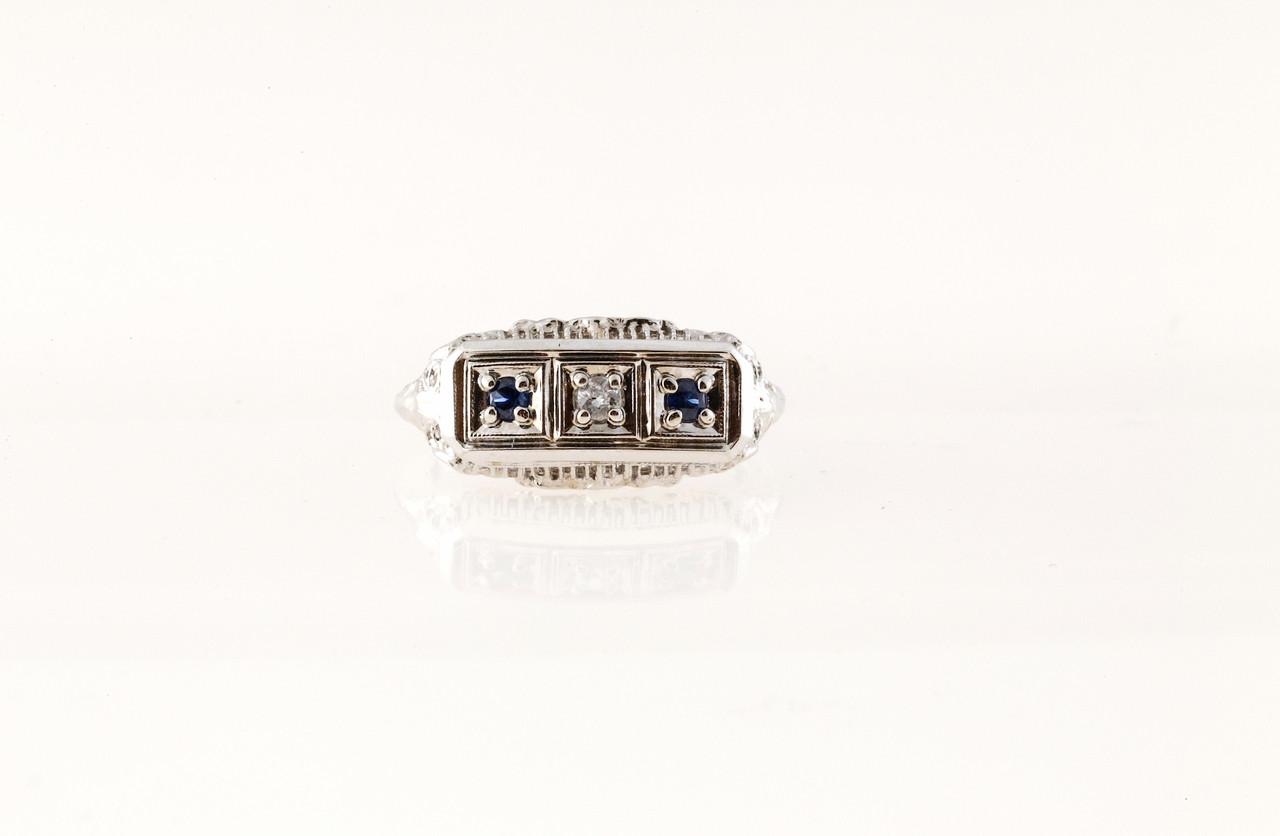 536cc3ac78306 Vintage Estate Filigree Art Deco Flat Top Ring .03ct Diamond .10ct Sapphire  14k
