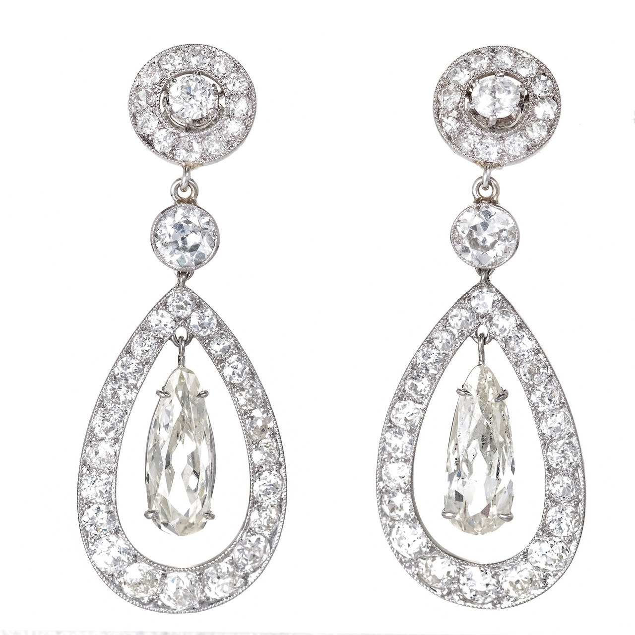 e5fda9831aef0 Cartier Paris Diamond Platinum Dangle Earrings c1900 ...