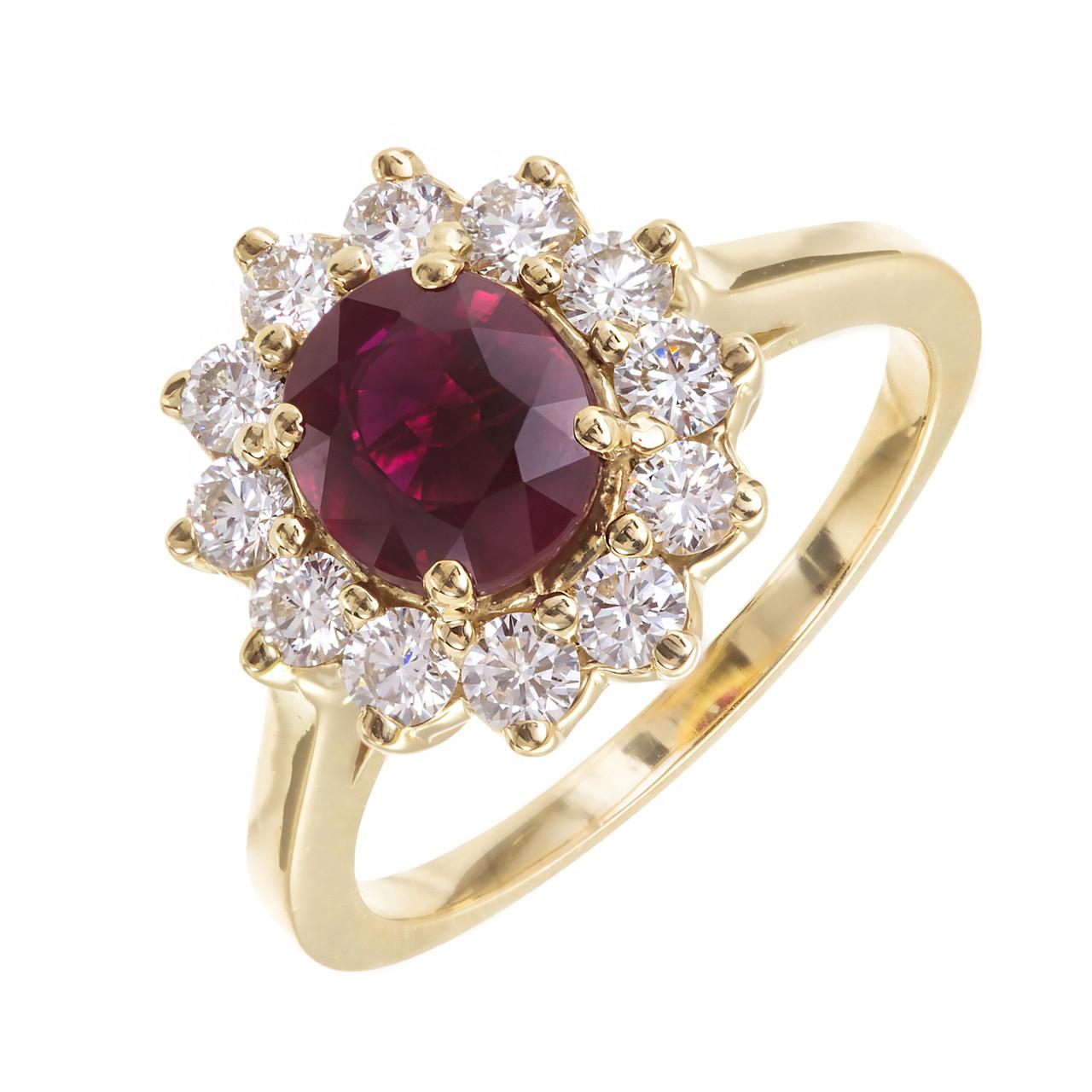 5a2706e8f Vintage Blood Red Burma Ruby 18k Gold Diamond Ring - petersuchyjewelers