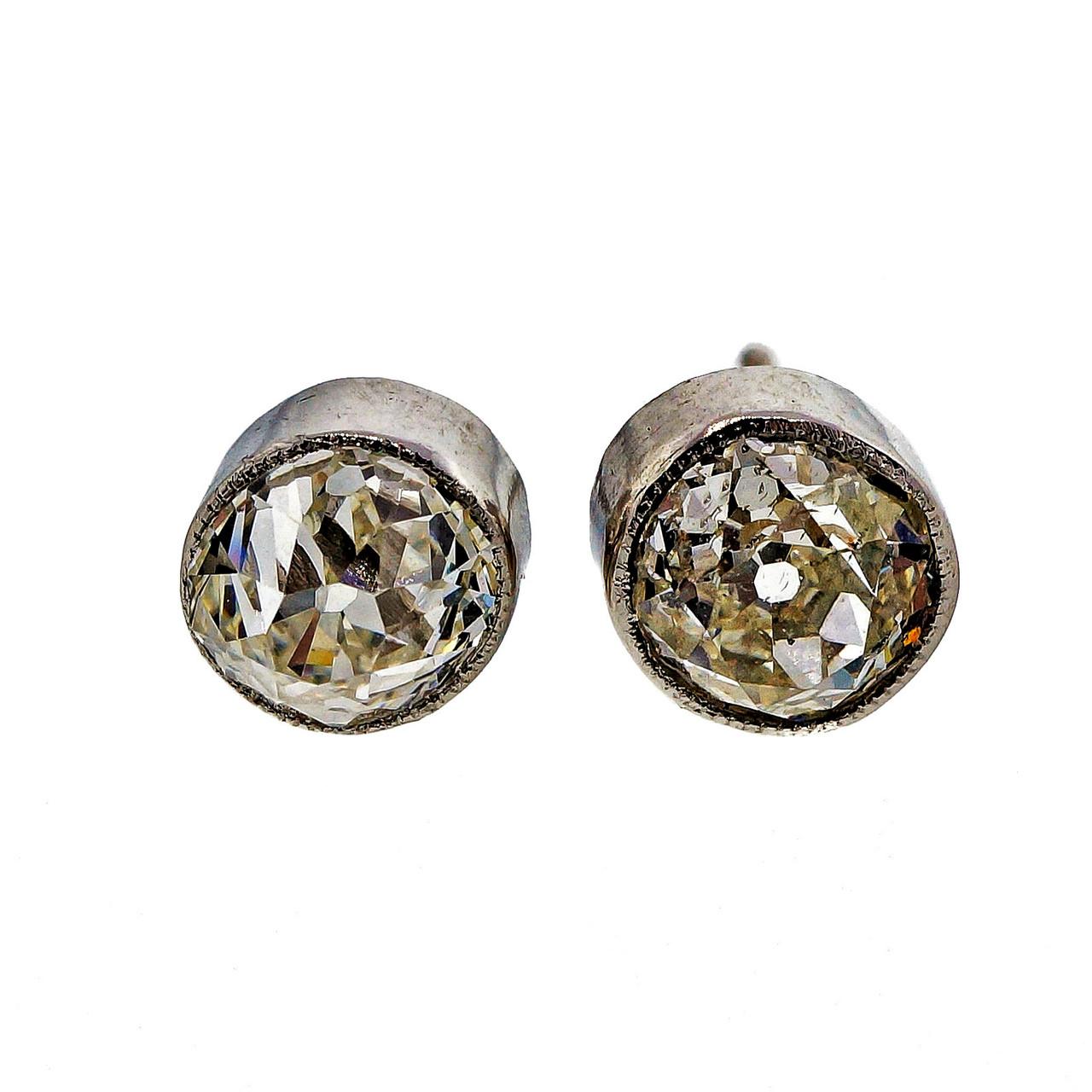 Antique Old Mine Cut 1 72ct Platinum Diamond Certified Bezel Set Stud Earrings Petersuchyjewelers
