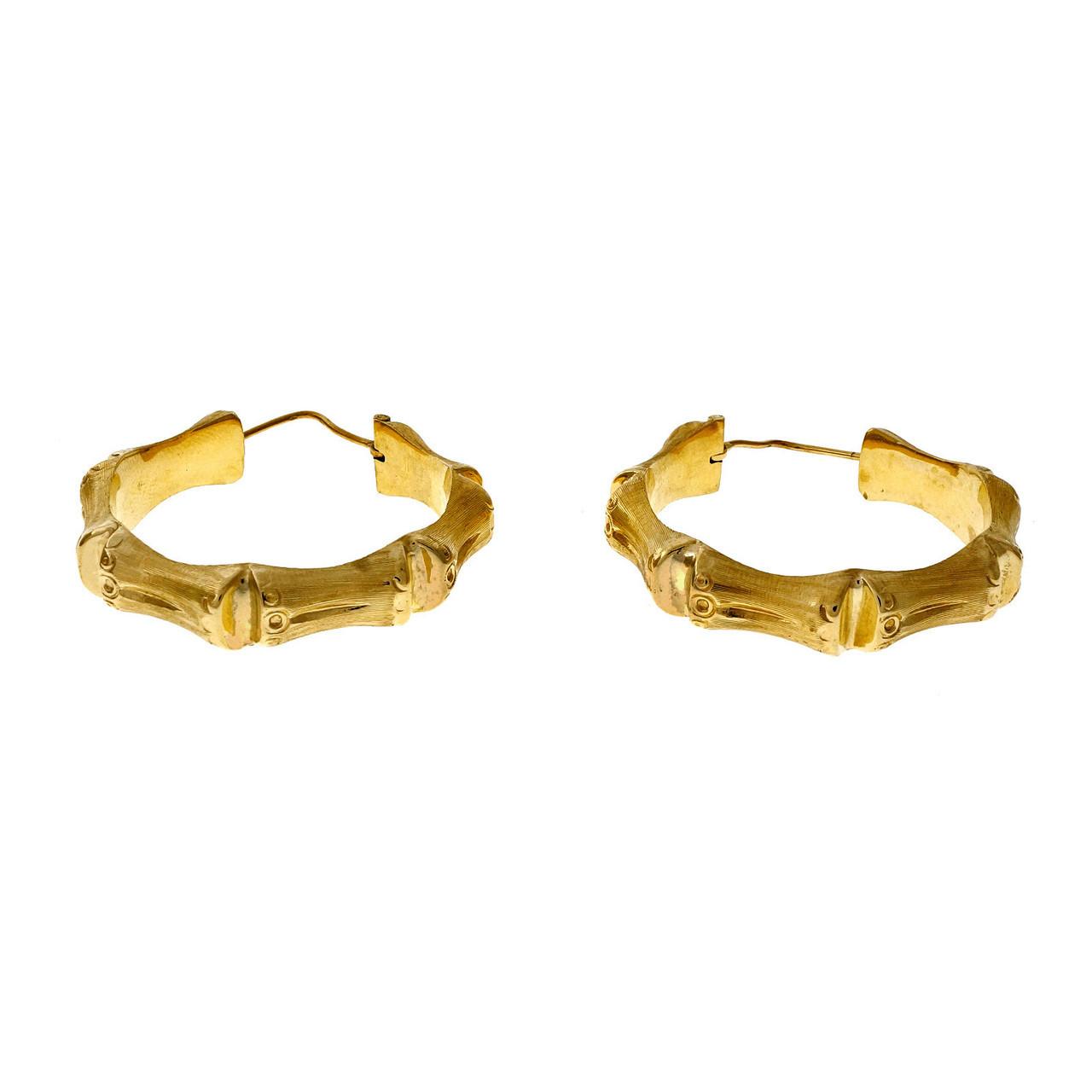 b7ddae0d4 Vintage 1950 14k Yellow Gold Bamboo Large Italian Hoop Earrings -  petersuchyjewelers