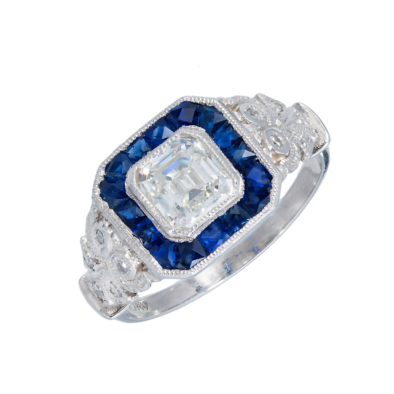 9864acc3836e Estate Asscher 1.06ct Diamond Art Deco Ring 1930 Calibre Sapphire Platinum  Halo