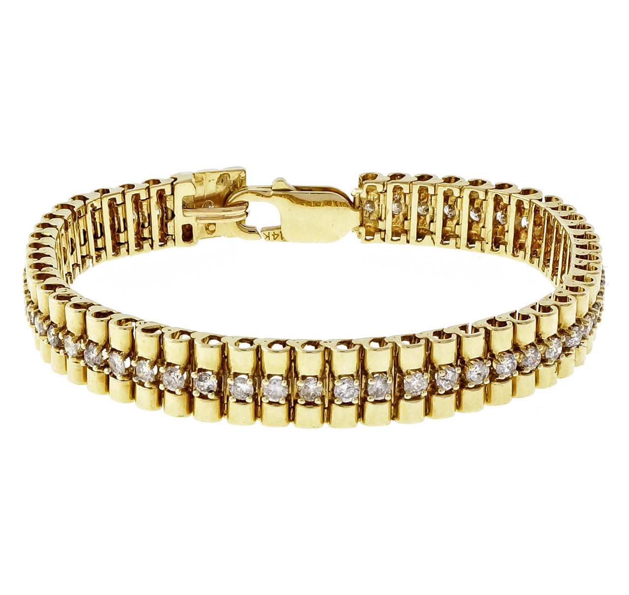 def1bca50bc51 Vintage 1960 Cylinder Link 2.60ct Diamond Bracelet 14k Yellow White Gold