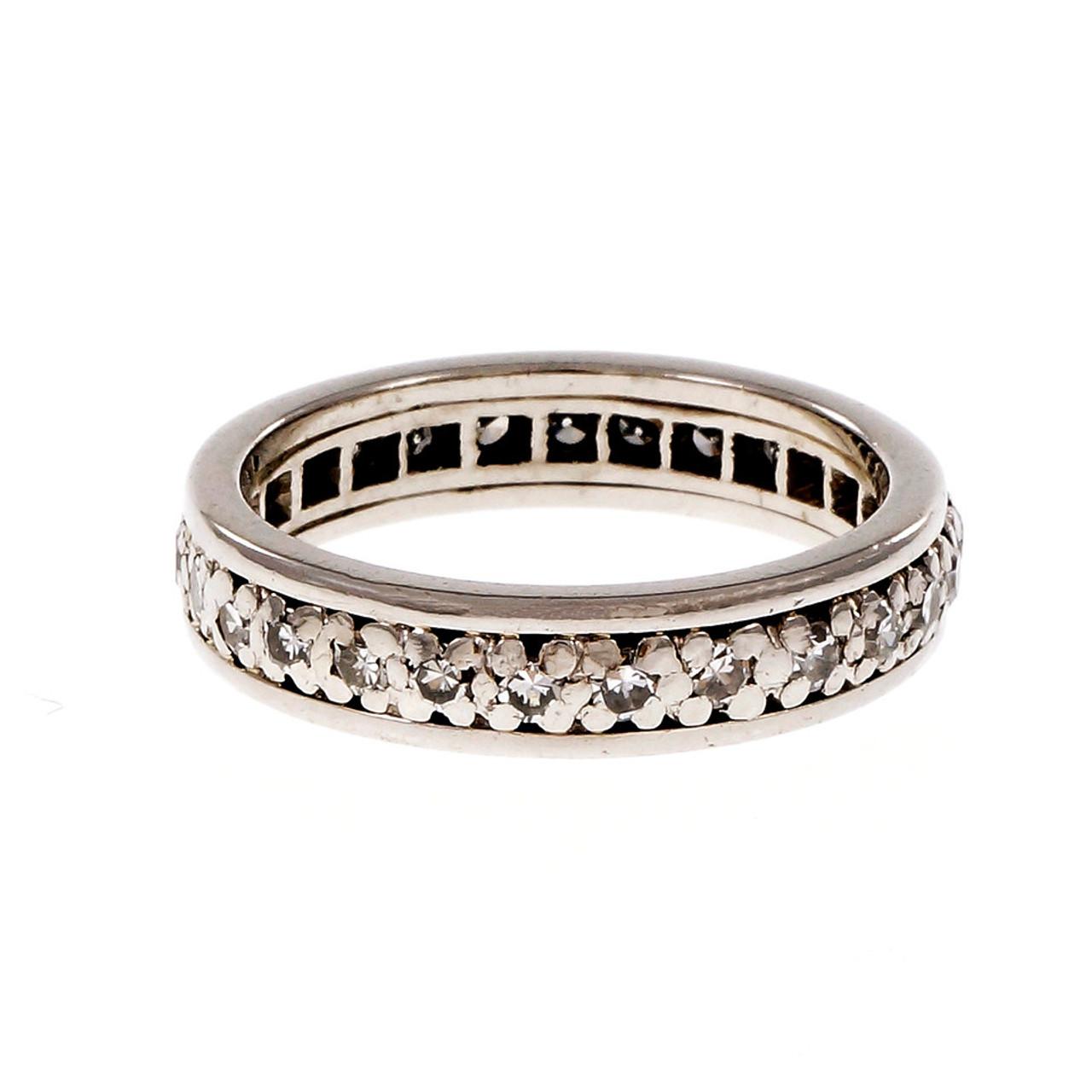 72fc53407006e Vintage 1940 Diamond Eternity Band Ring Platinum Size 7.5