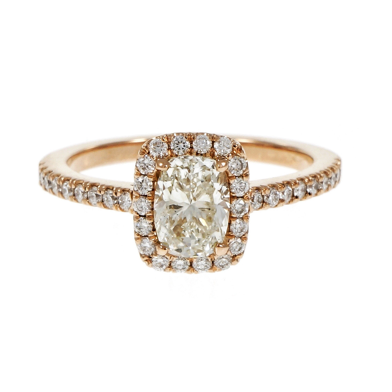 Peter Suchy Antique Cushion Cut Diamond Engagement Ring Pink Rose Gold Halo