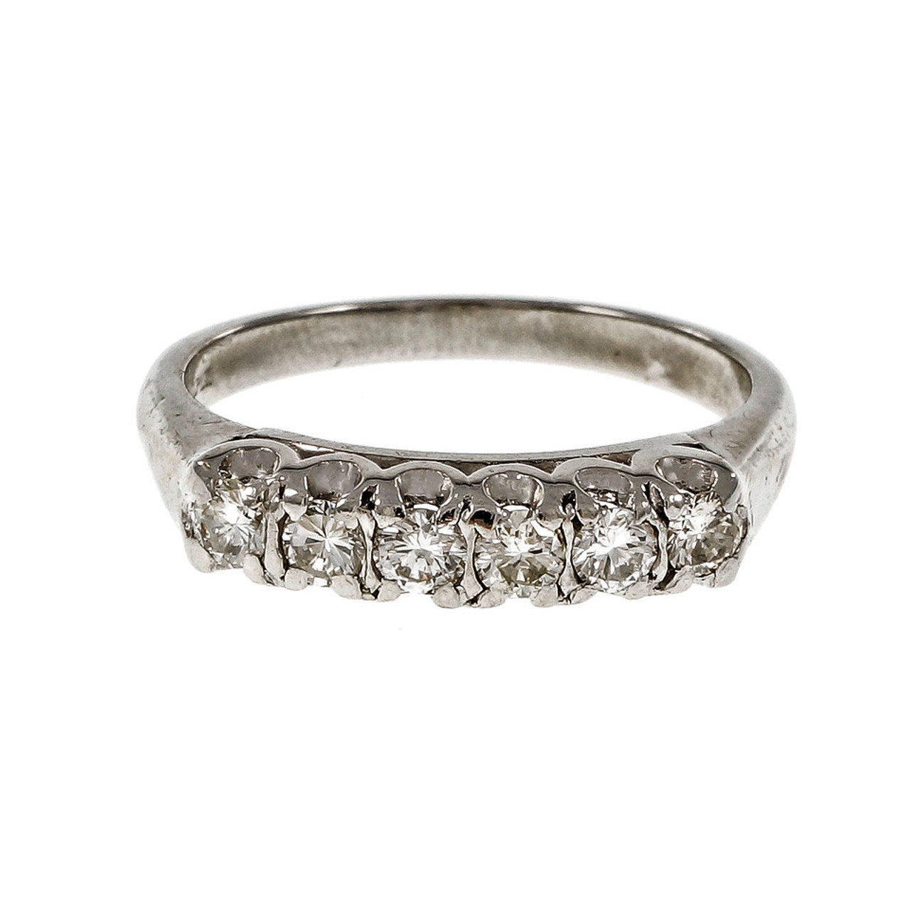 edeab4f5f71 Vintage Platinum Diamond Wedding Band Ring Fishtail Prongs -  petersuchyjewelers