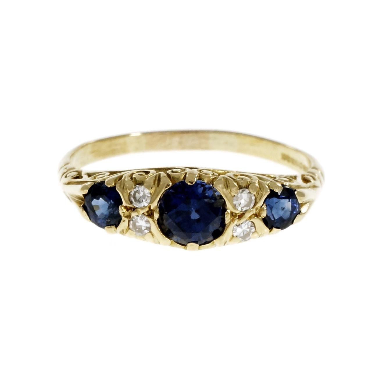 68200457d3563 Vintage Fine Sapphire Diamond Band Ring 18k Yellow Gold S&D English