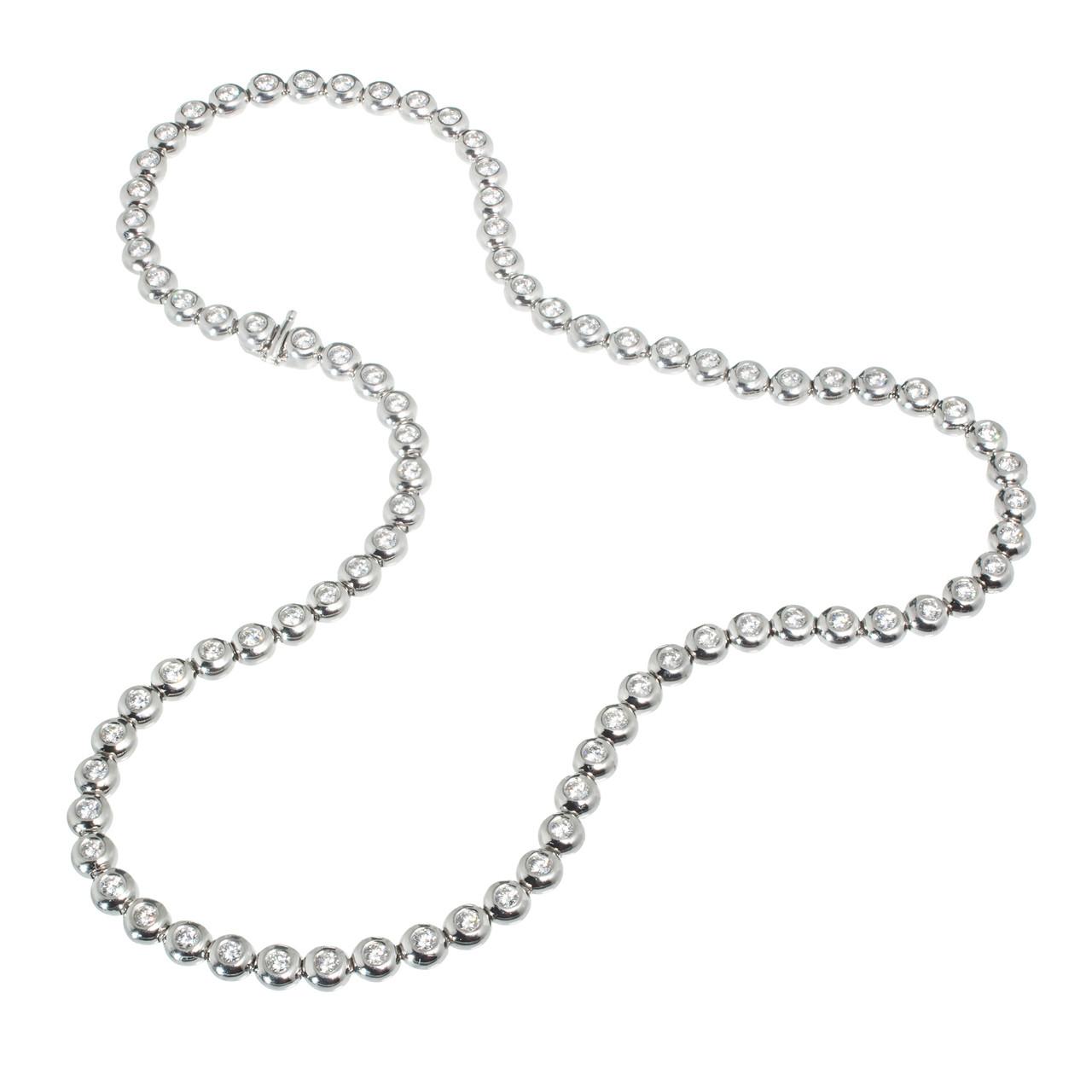 Tiffany Co Diamond Platinum Bezel Set Tennis Necklace Petersuchyjewelers