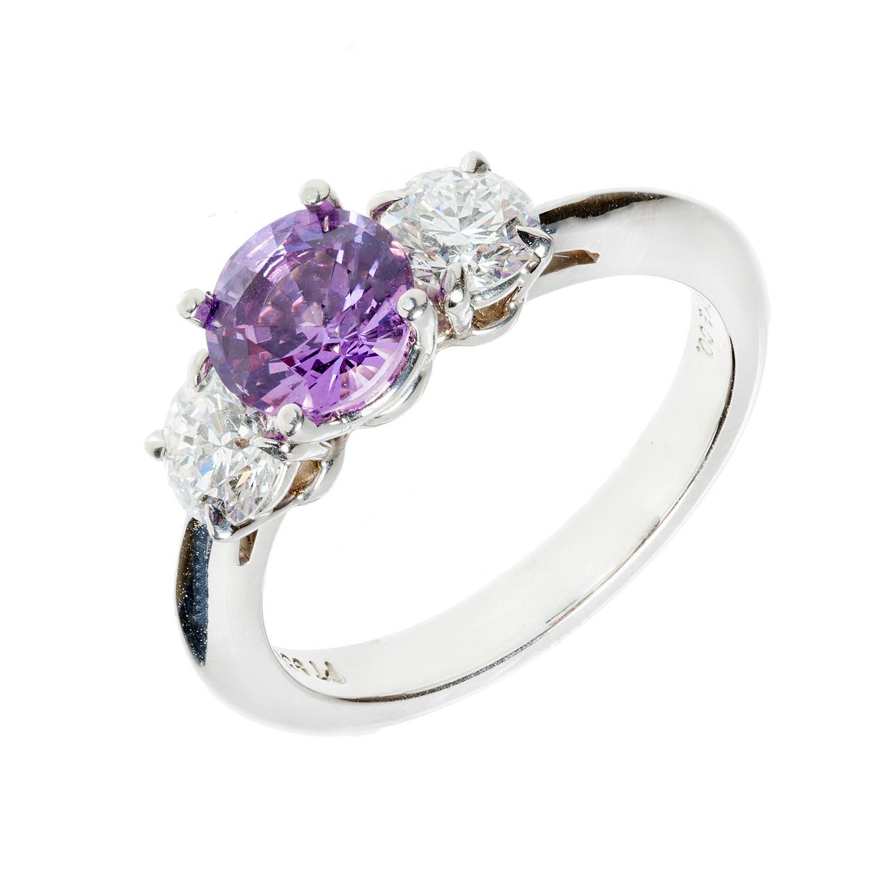 8ab18b8c4 Vintage Platinum Engagement Ring 1.22ct Sapphire .74ct Diamond Tiffany + Co  - petersuchyjewelers