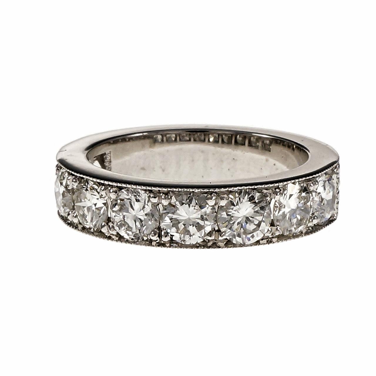 Peter Suchy Vintage Inspired Diamond Wedding Band Ring Platinum