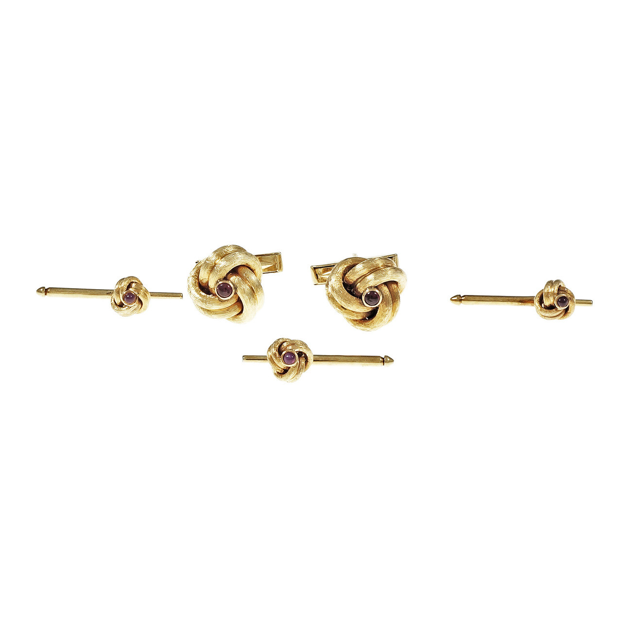 b07fd64f42e9d Vintage Tiffany & Co Cufflinks Shirt Stud Set Ruby 14k Yellow Gold 1950