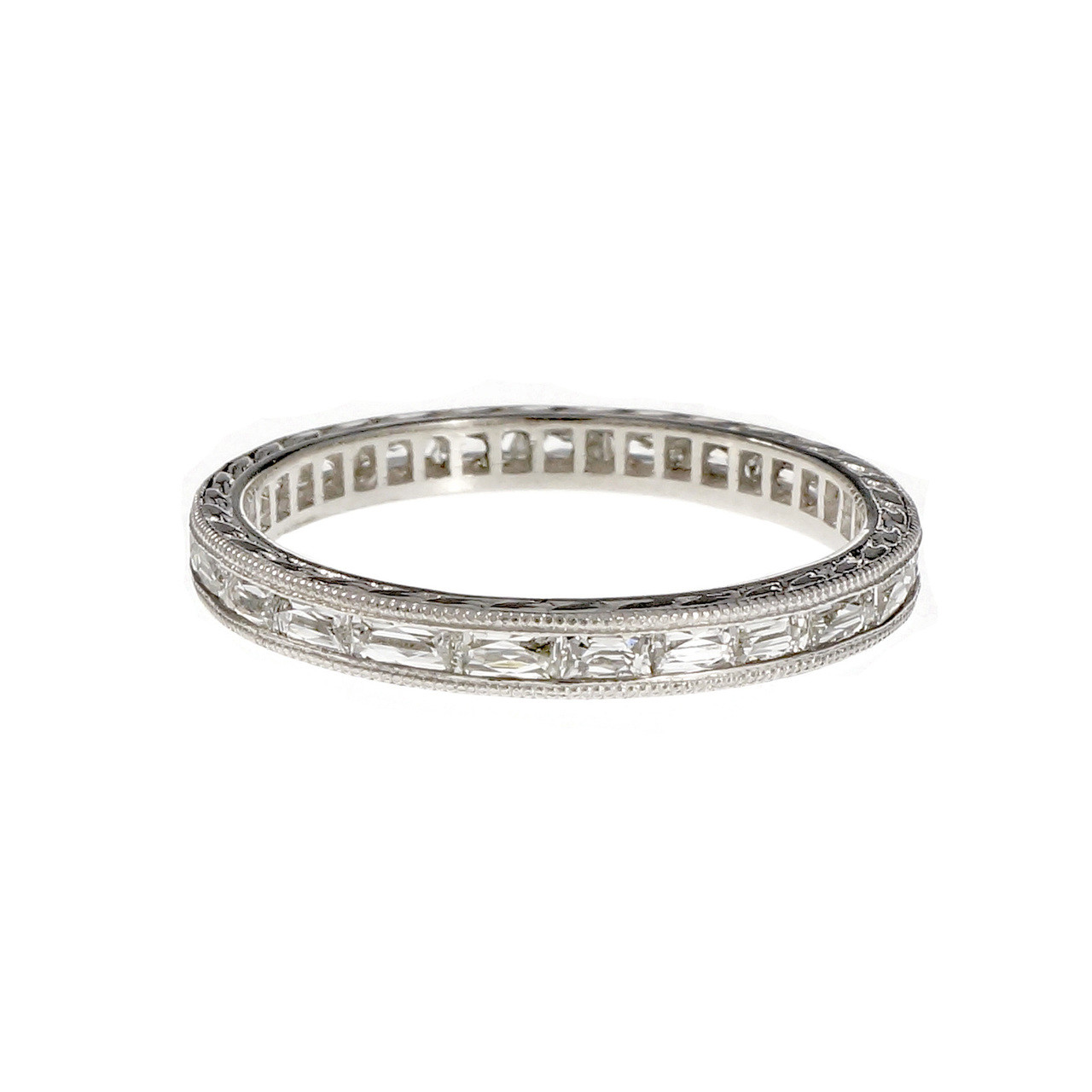 2241cf8963882 Peter Suchy French Cut Baguette Diamond Wedding Band Platinum Antique  Inspired