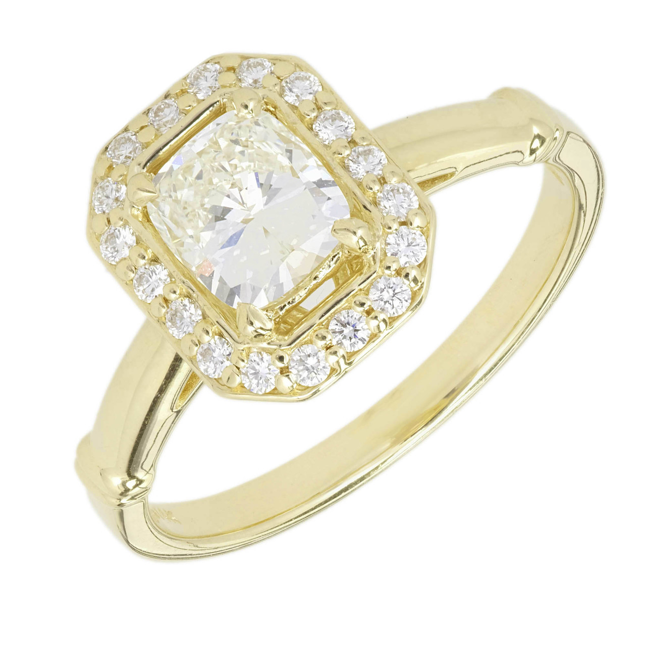 Peter Suchy Elongated Cushion Cut Diamond Engagement Ring 14k Yellow Gold Halo