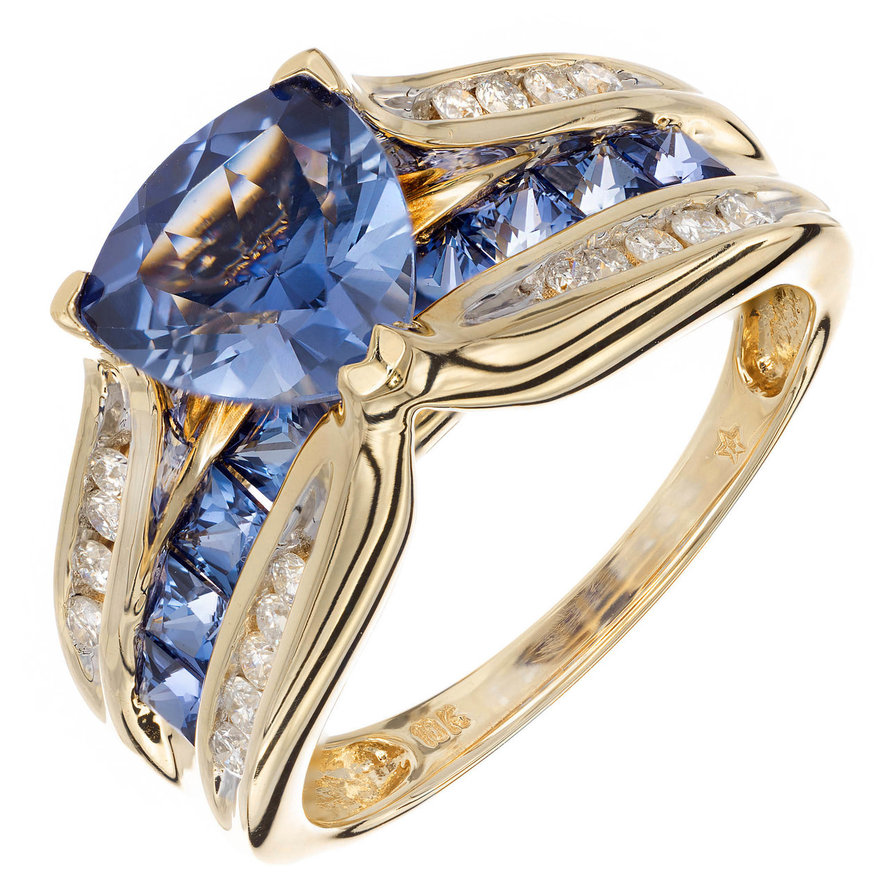 989f94861289f 1.54 Carat Tanzanite Diamond Yellow Gold Diamond Engagement Ring