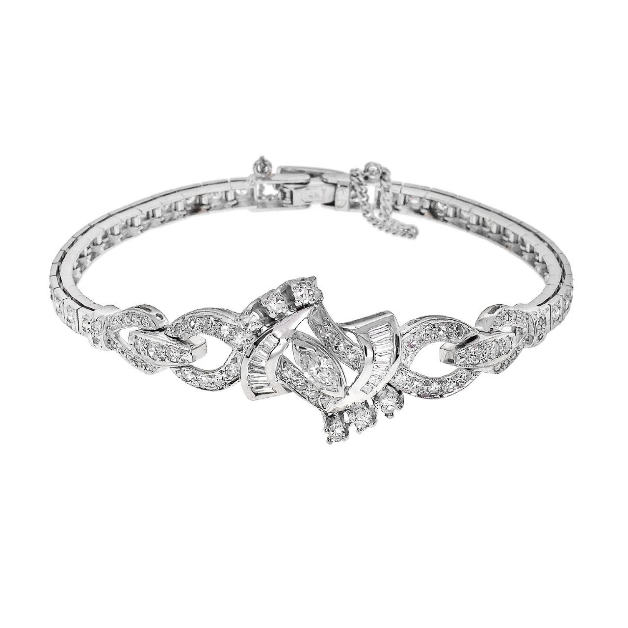 87d9994481ce2 Vintage 1950 Diamond Bracelet 14k White Gold Fancy Center