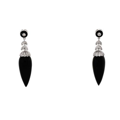 14k White Gold Diamond Black Onyx Dangle Earrings