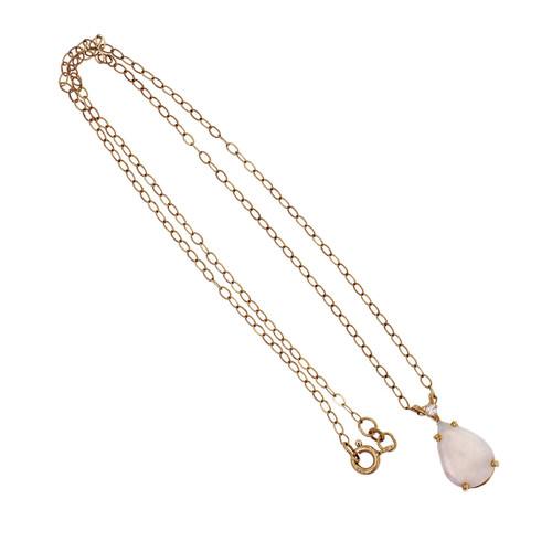 Opal Diamond Pendant 14k Yellow Gold Link Necklace