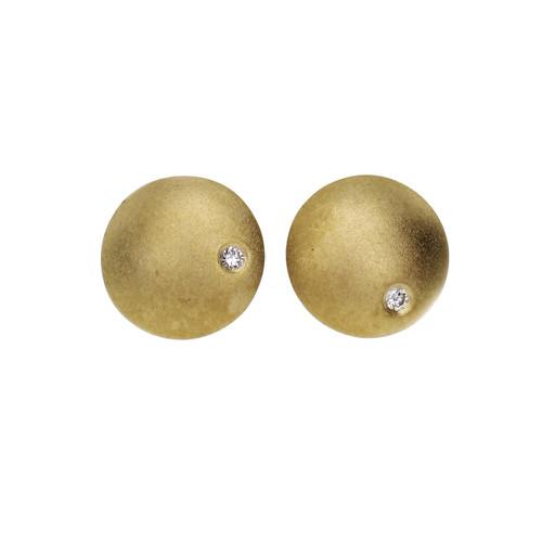 Round Matte Finish Diamond 10mm Round Earrings 18k Yellow Gold
