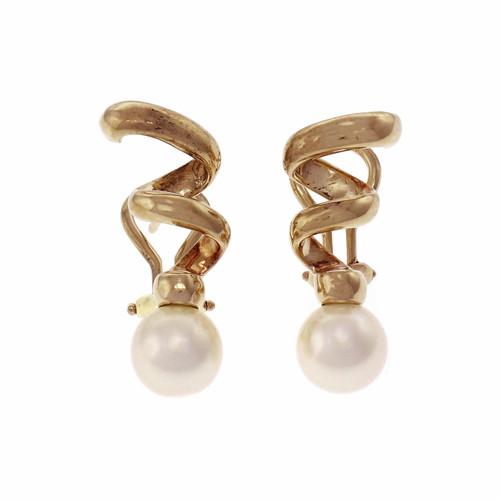 Tiffany & Co Pearl Cork Screw 18k Yellow Gold Earrings
