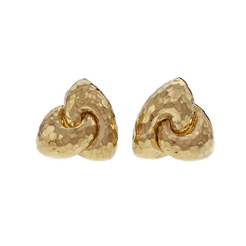 Henry Dunay Hammered Gold Clip Post Yellow Gold Earrings