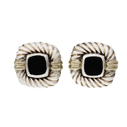 David Yurman Silver 14k Onyx Cufflinks