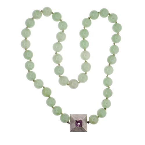 Jadeite Jade bead necklace GIA certified.