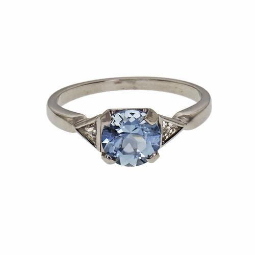 Aquamarine .88cts Diamond three stone engagement ring
