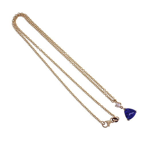 Peter Suchy triangle Tanzanite Diamond pendant Necklace