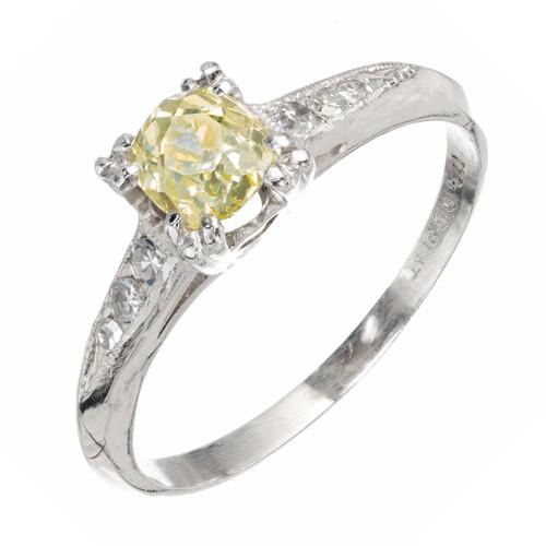 GIA Certified .58 Carat Yellow Diamond Platinum Engagement Ring