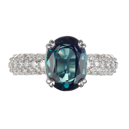 Peter Suchy GIA Certified 3.52 Carat Sapphire Diamond Platinum Engagement Ring