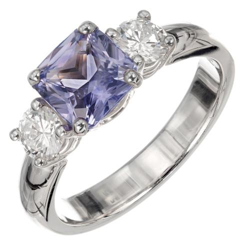 Peter Suchy GIA Certified 1.81 Carat Sapphire Diamond Platinum Engagement Ring