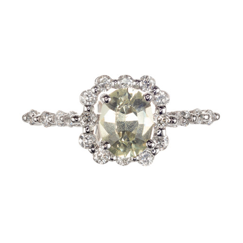 Peter Suchy GIA Certified .99 Carat Sapphire Diamond Gold Engagement Ring