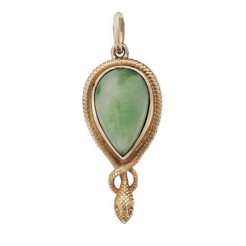 Vintage 1900 Jadeite Jade Pendant 14k Gold Snake Motif GIA Certified