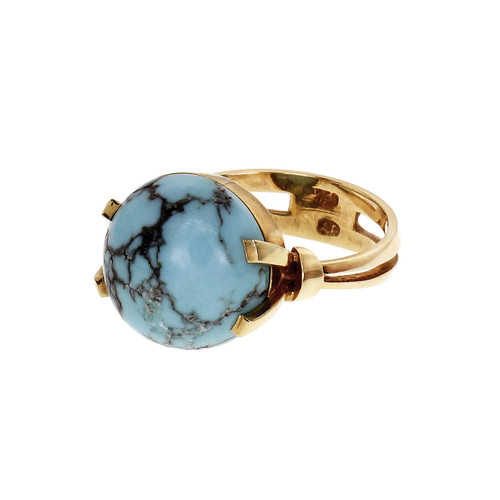 Estate 1950's Turquoise Dome Ring 18k Yellow Gold