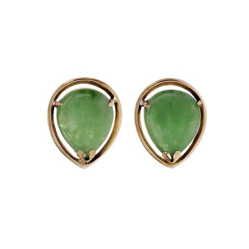 Jadeite Jade Green Tear Drop Shape Rose Gold Earrings